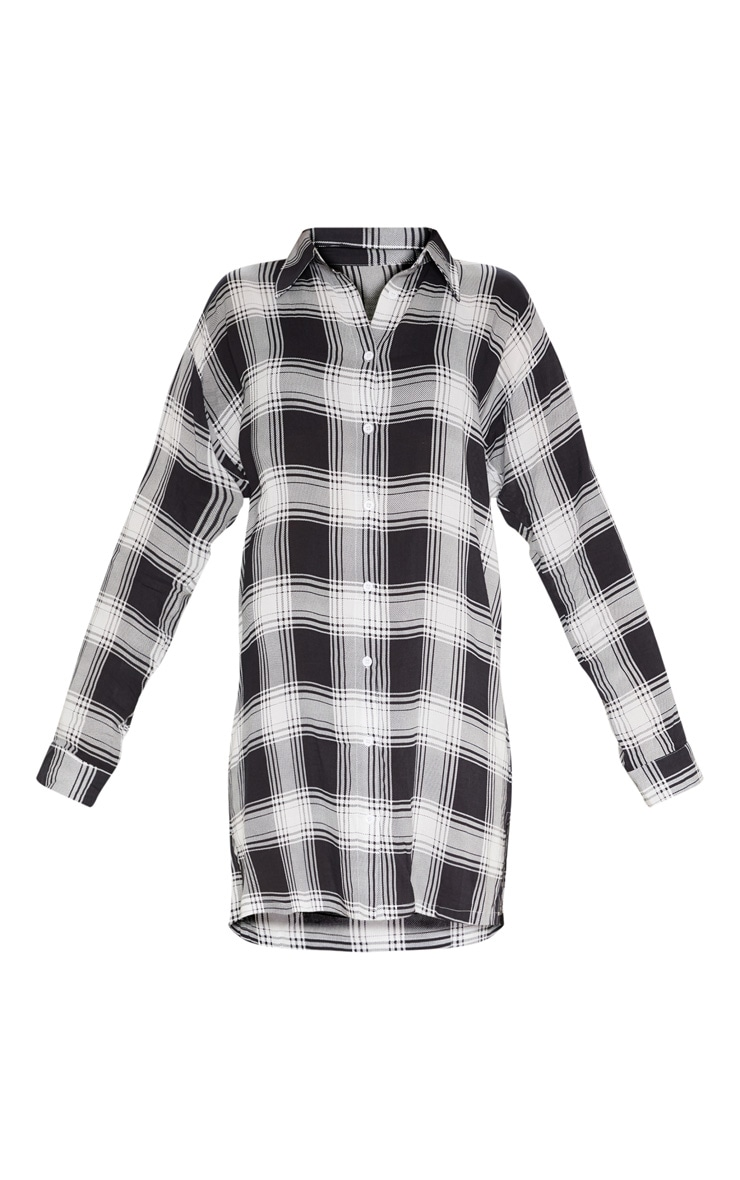 Black Oversized Checked Lightweight Shirt Dress 3