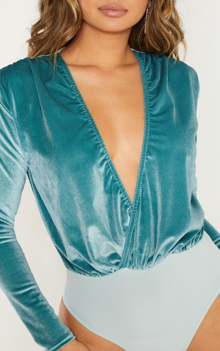 Mint Long Sleeve Plunge Velvet Bodysuit 4