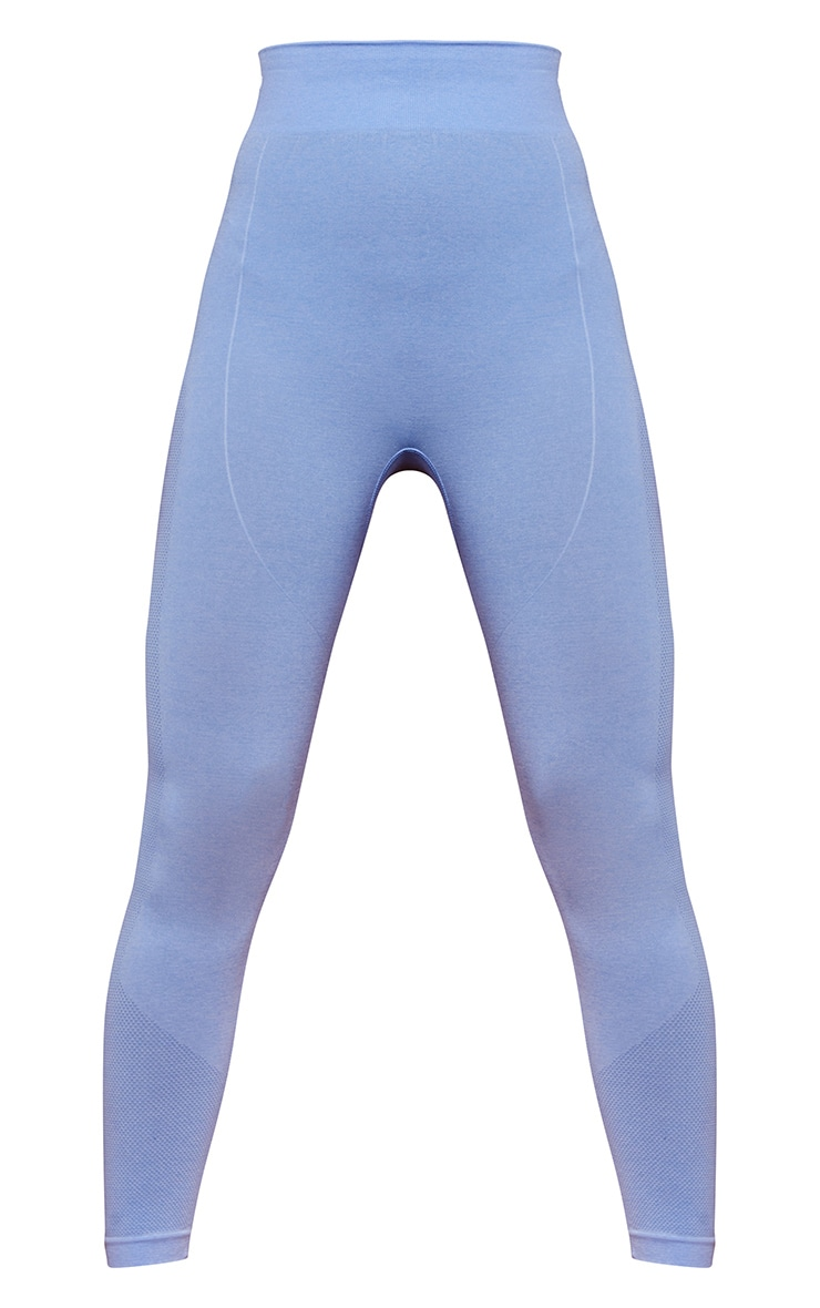 PRETTYLITTLETHING Blue Marl Contour Cropped Seamless Leggings 5