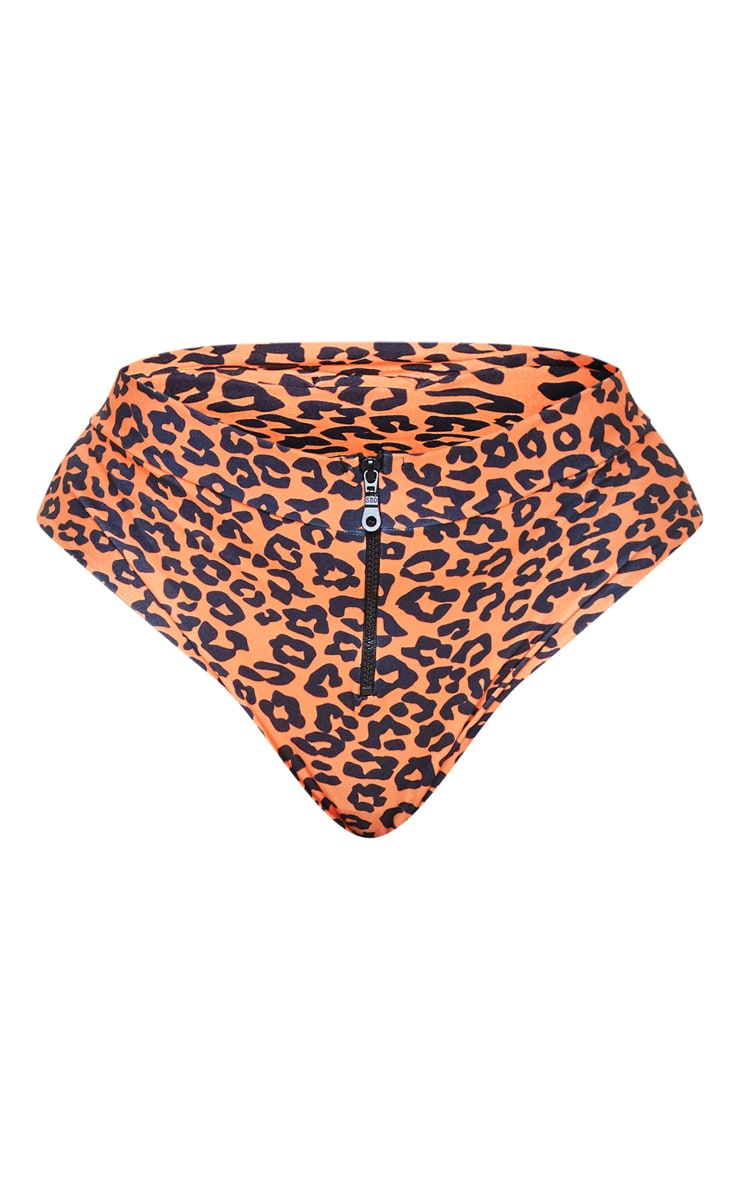 Plus Leopard Print Zip Detail Bikini Bottom 7