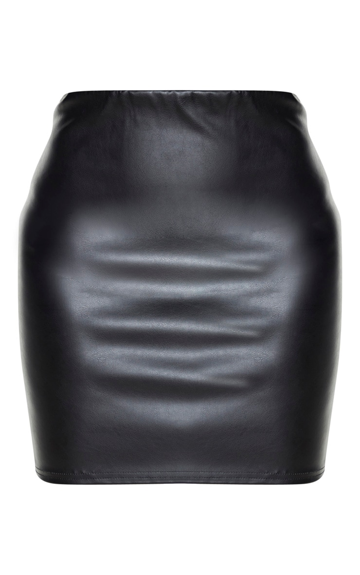 Tall Black PU Mini Skirt 3