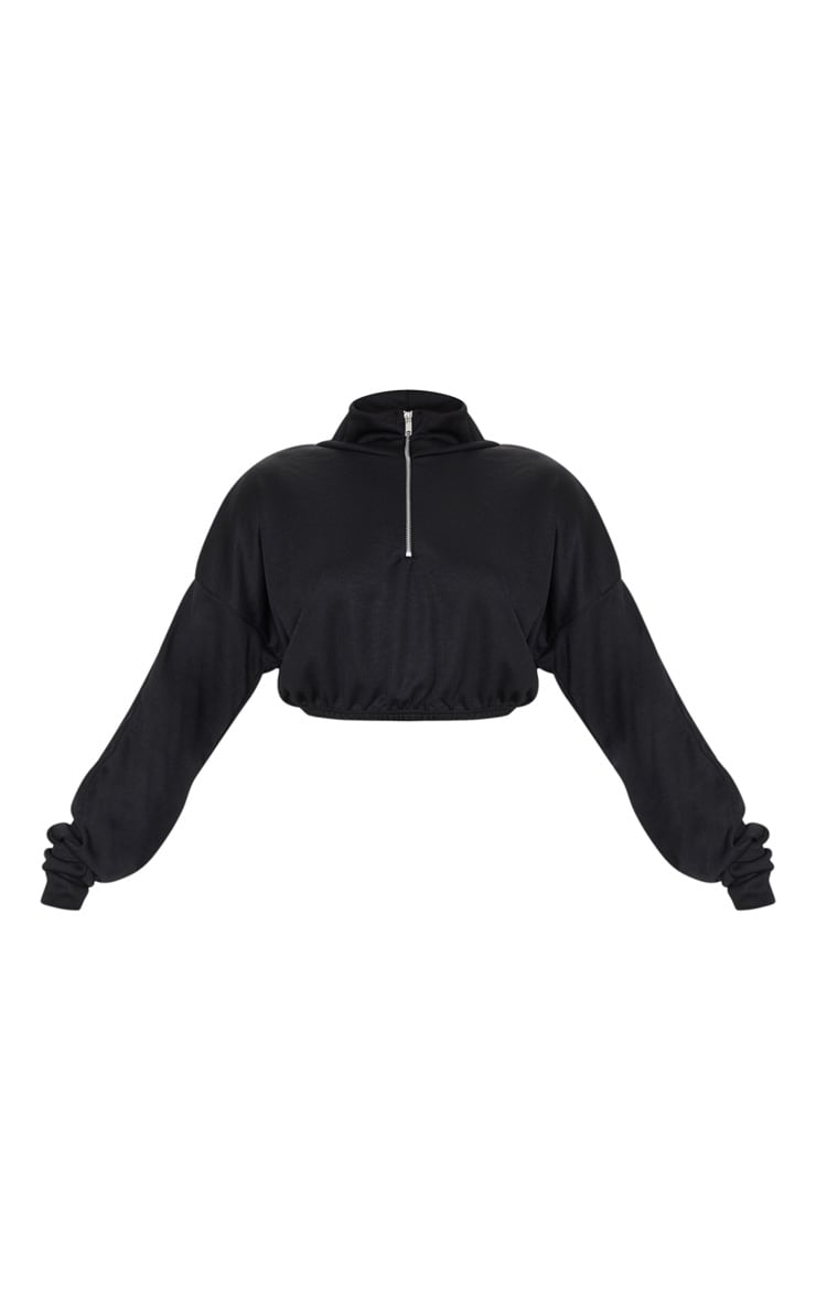 Black Rib Zip Front Long Sleeve Sweatshirt 5