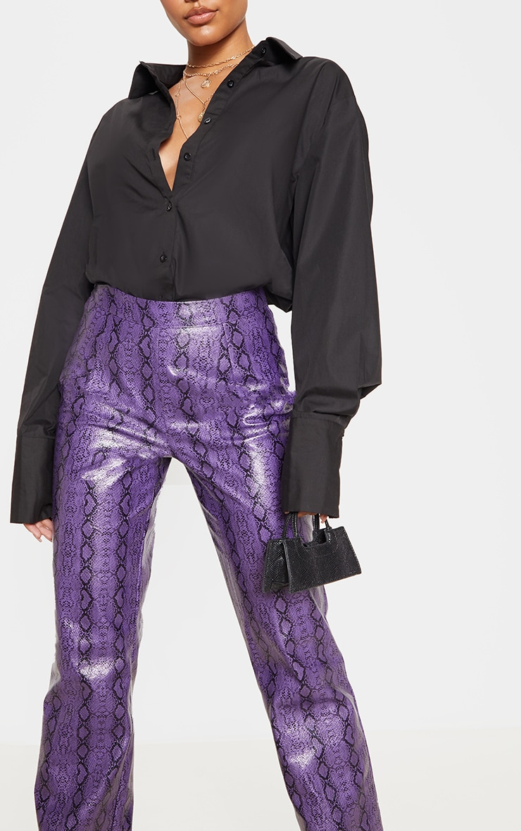 Purple Faux Leather Snake Print Straight Leg Trouser 5