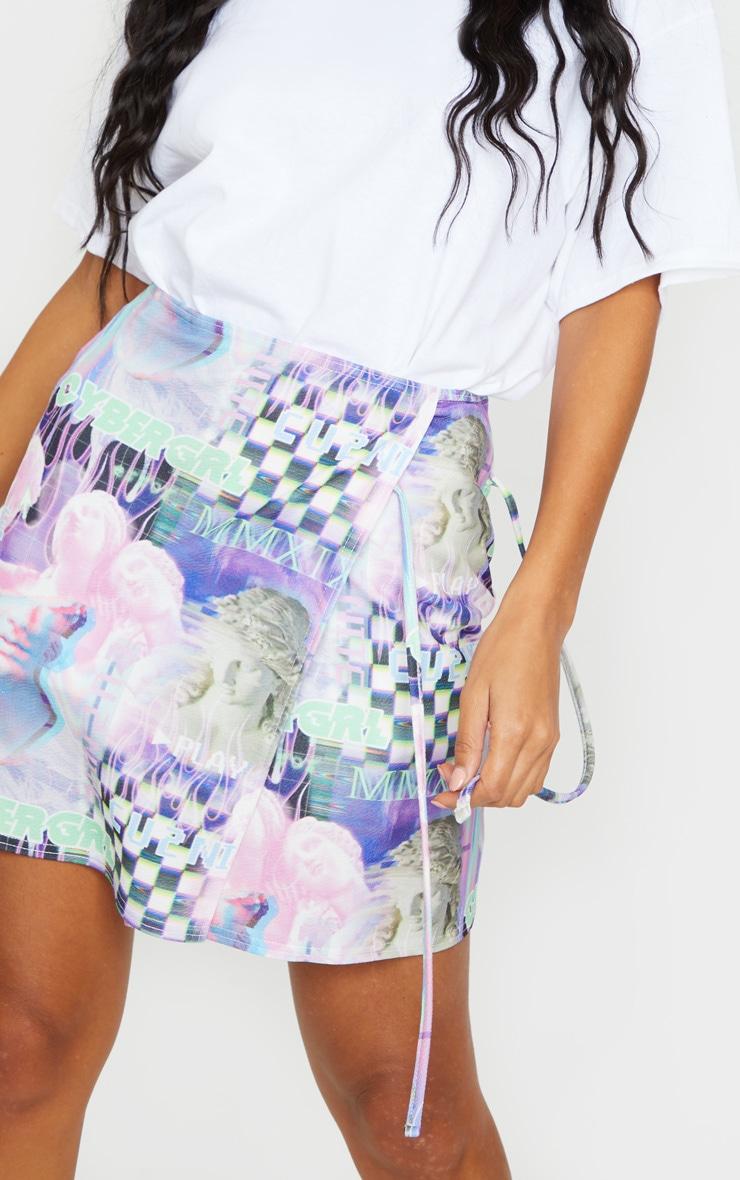 Lilac Cyber Statue Print Wrap A Line Skirt 5