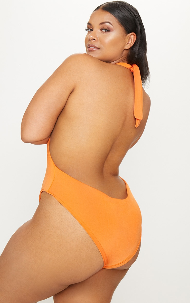Plus Orange Plunge Twist Detail Swimsuit 2
