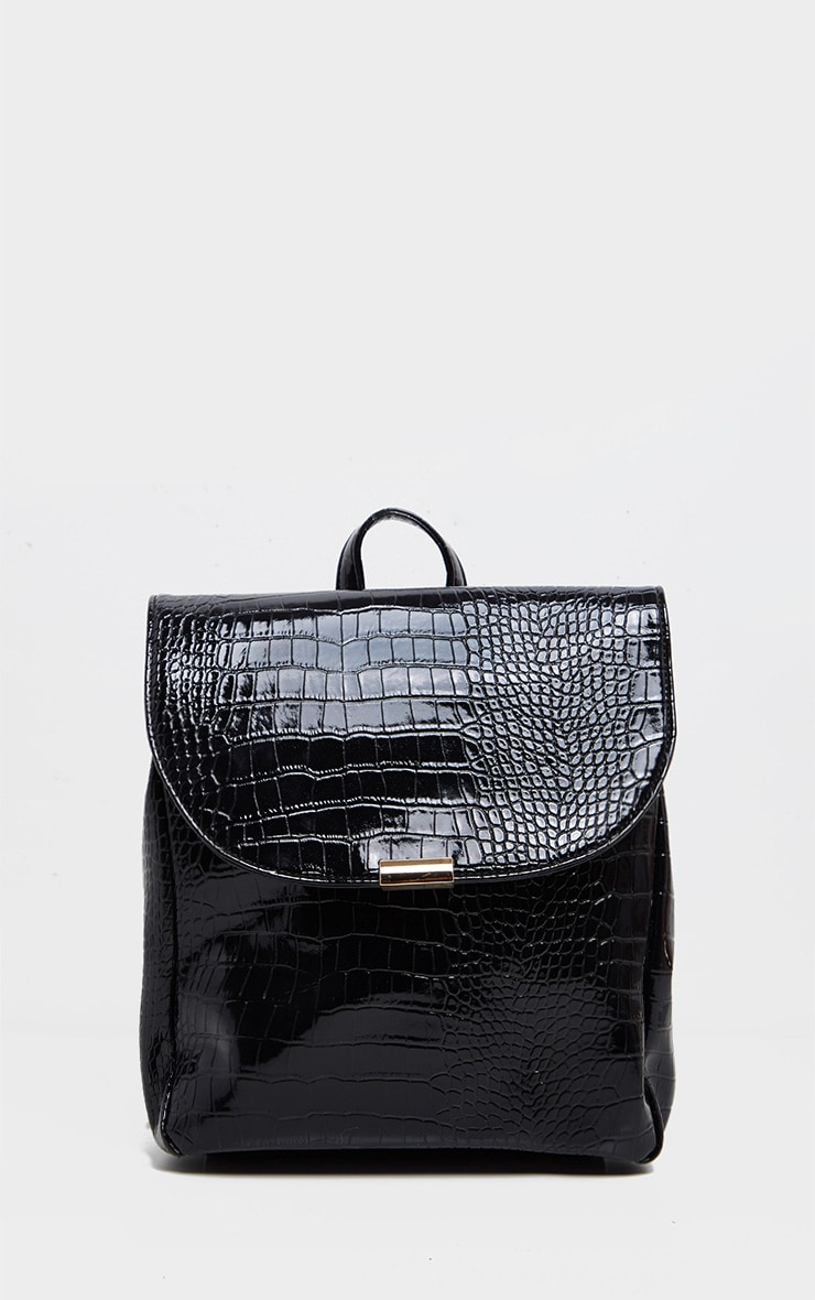Black Patent Croc PU Large Backpack 2