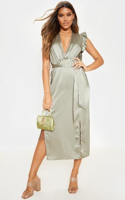 Sage Green Satin Frill Shoulder Split Midi Dress