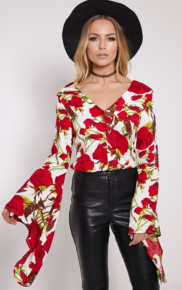 Harita Red Rose Extreme Flare Sleeve Blouse 1
