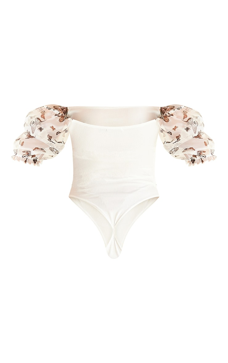 Cream Butterfly Print Organza Sleeve Bodysuit 6
