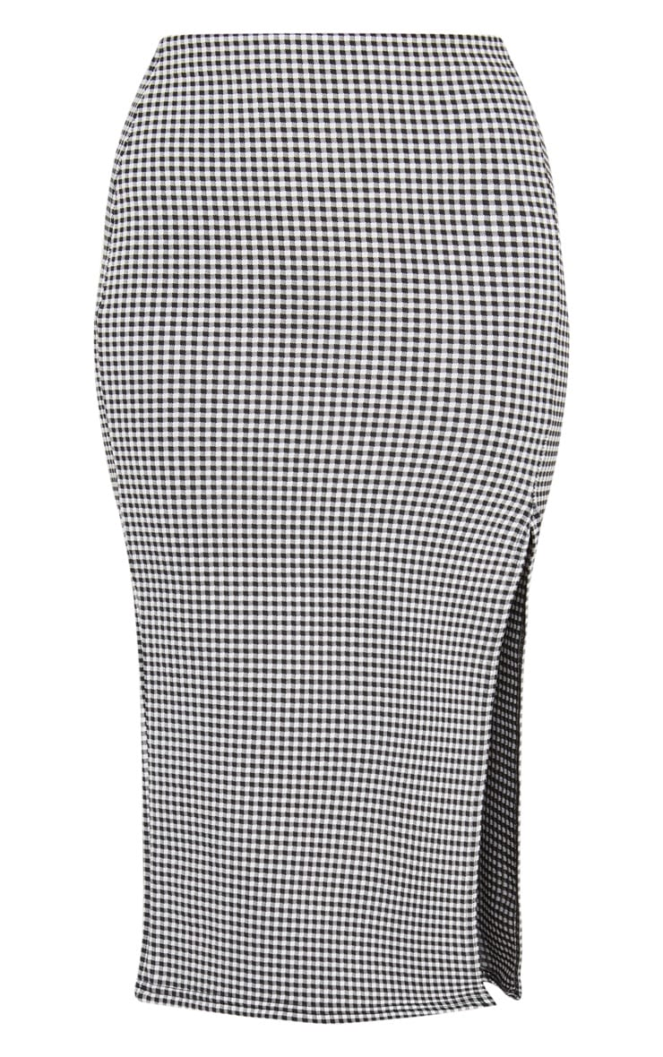 Black Gingham Split Detail Midi Skirt 3