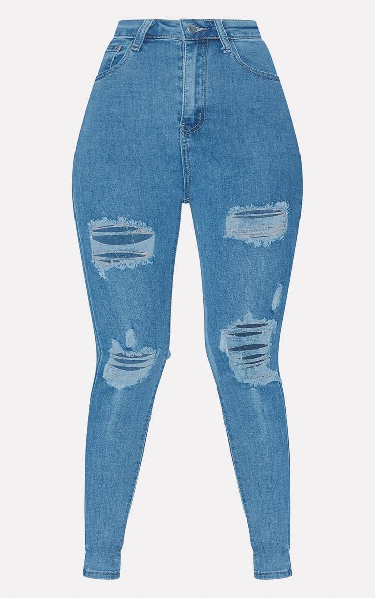 PRETTYLITTLETHING Light Wash Distressed 5 Pocket Skinny Jean  3