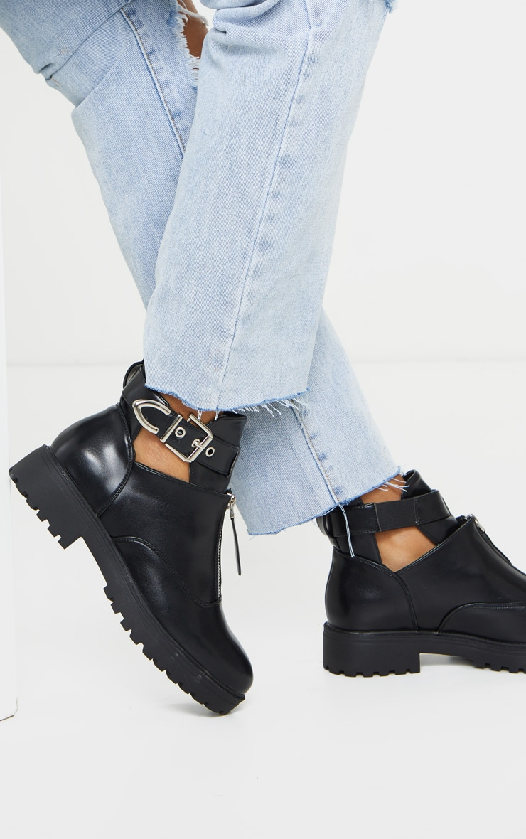 Black Zip Front Buckle Ankle Boot 3