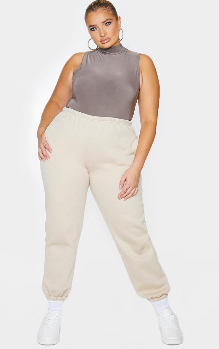 Plus Slate Slinky High Neck Sleeveless Bodysuit 3