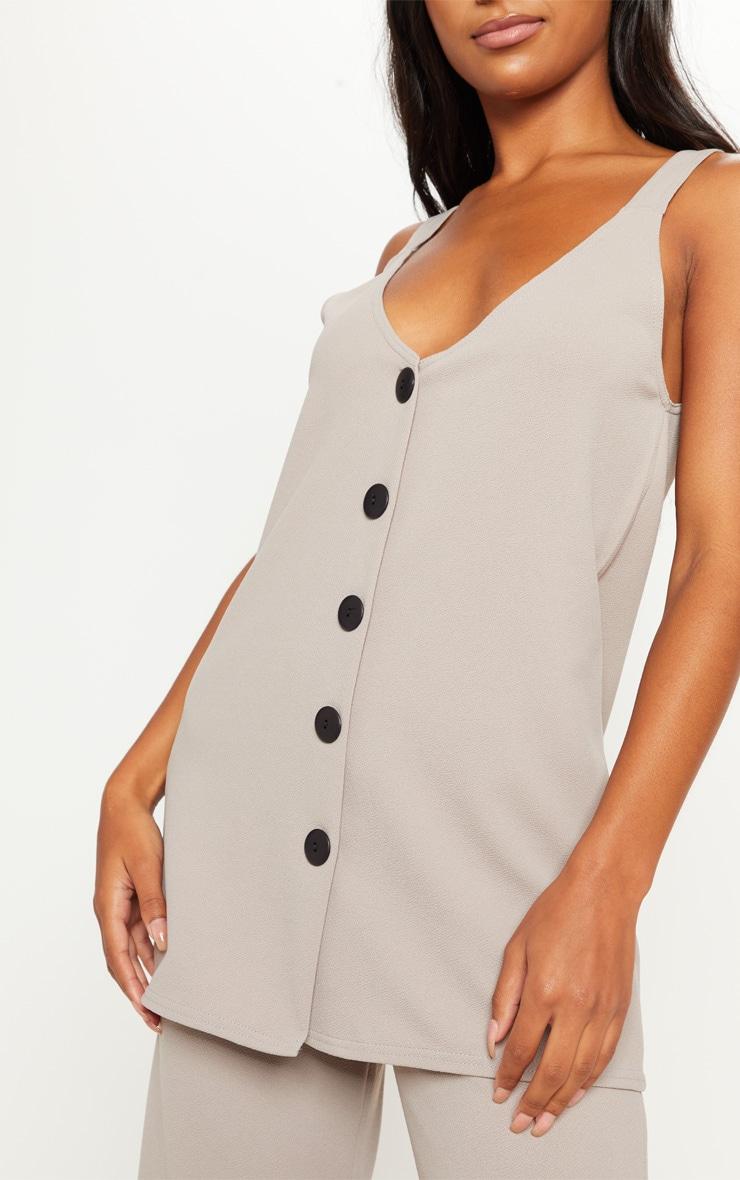 Grey Longline Button Detail Cami Top 5