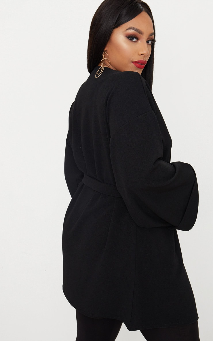 Plus Black Belted Oversized Sleeve Blazer 2
