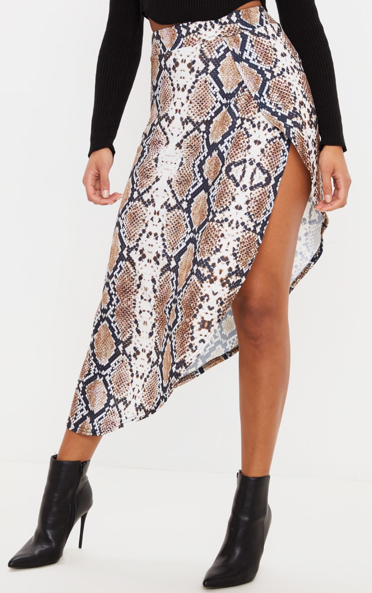 Tan Snake Print Asymmetric Skirt 2