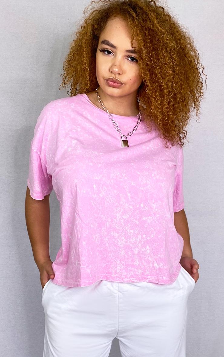 Plus Pink Acid Wash Oversized T Shirt 1