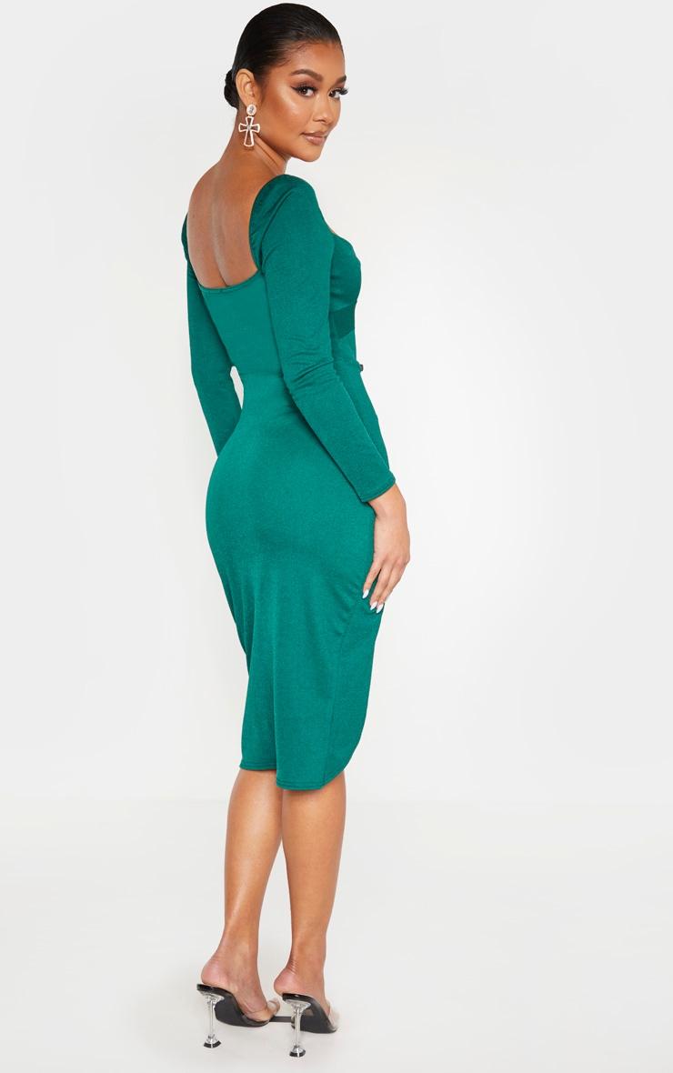 Emerald Green Twist Front Long Sleeve Wrap Midi Dress 2