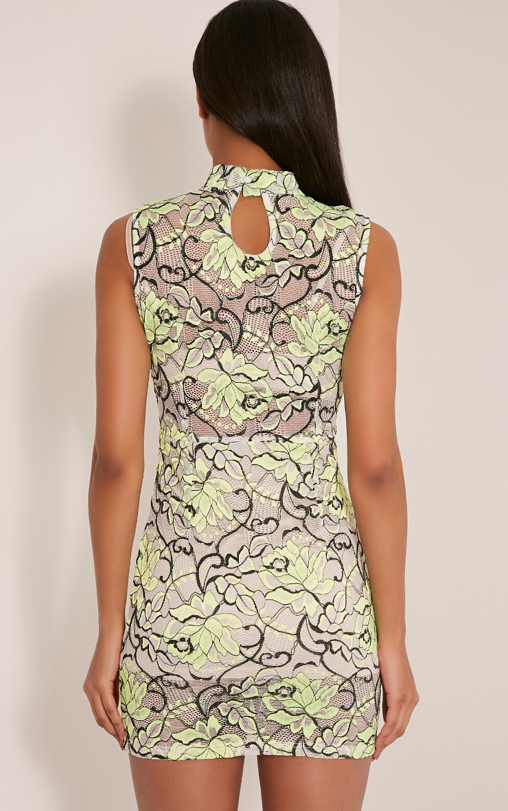 Saffie Lime High Neck Lace Bodycon Dress 2