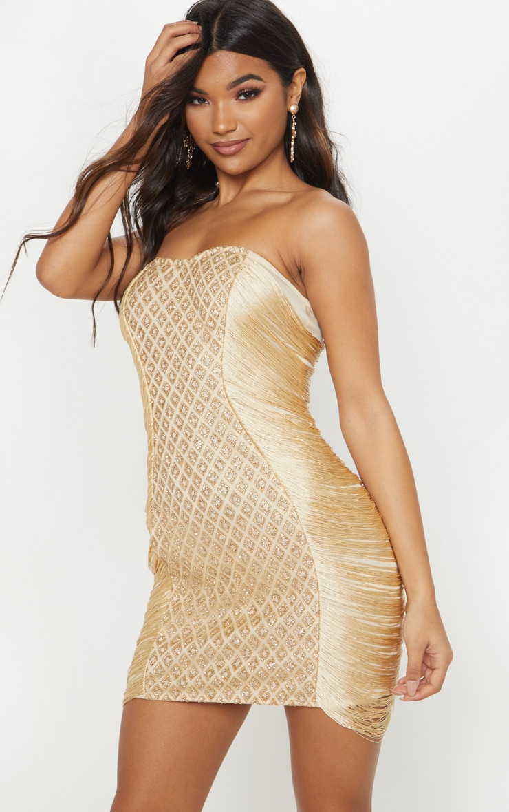 Gold Bandeau Glitter Tassel Bodycon Dress 1