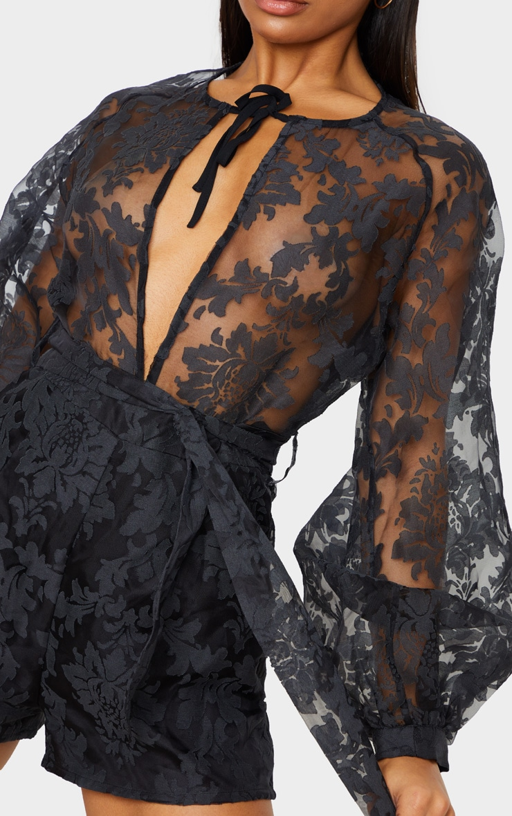 Black Delicate Lace Long Sleeve Tie Neck Playsuit 6