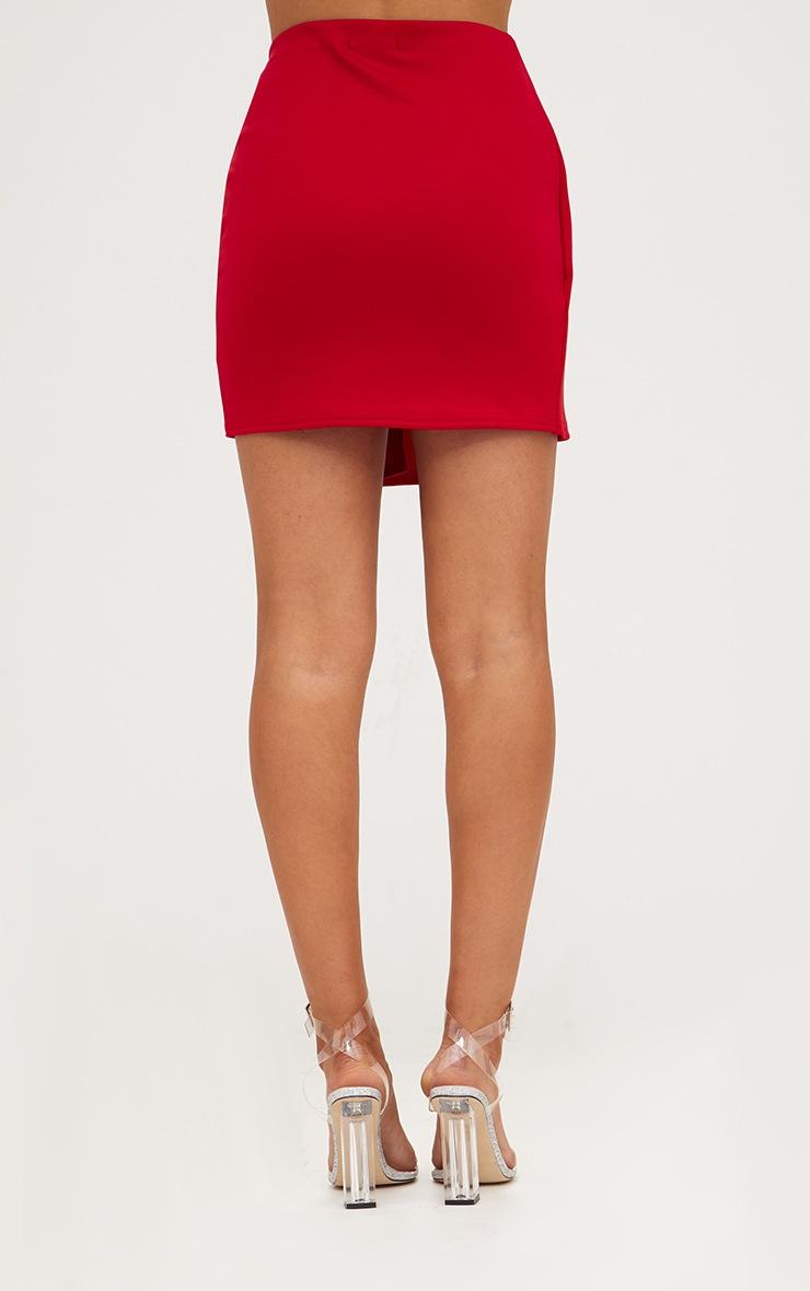 Red Tie Wrap Mini Skirt 4