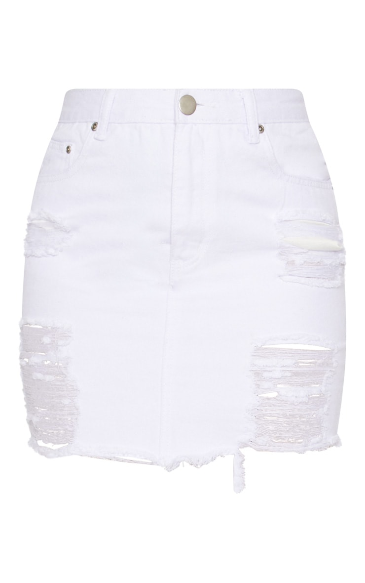 White Heavy Distressed Denim Mini Skirt 3