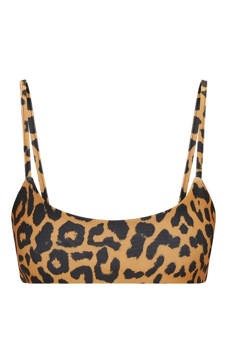 Orange Cheetah Print Low Scoop Bikini Top 3