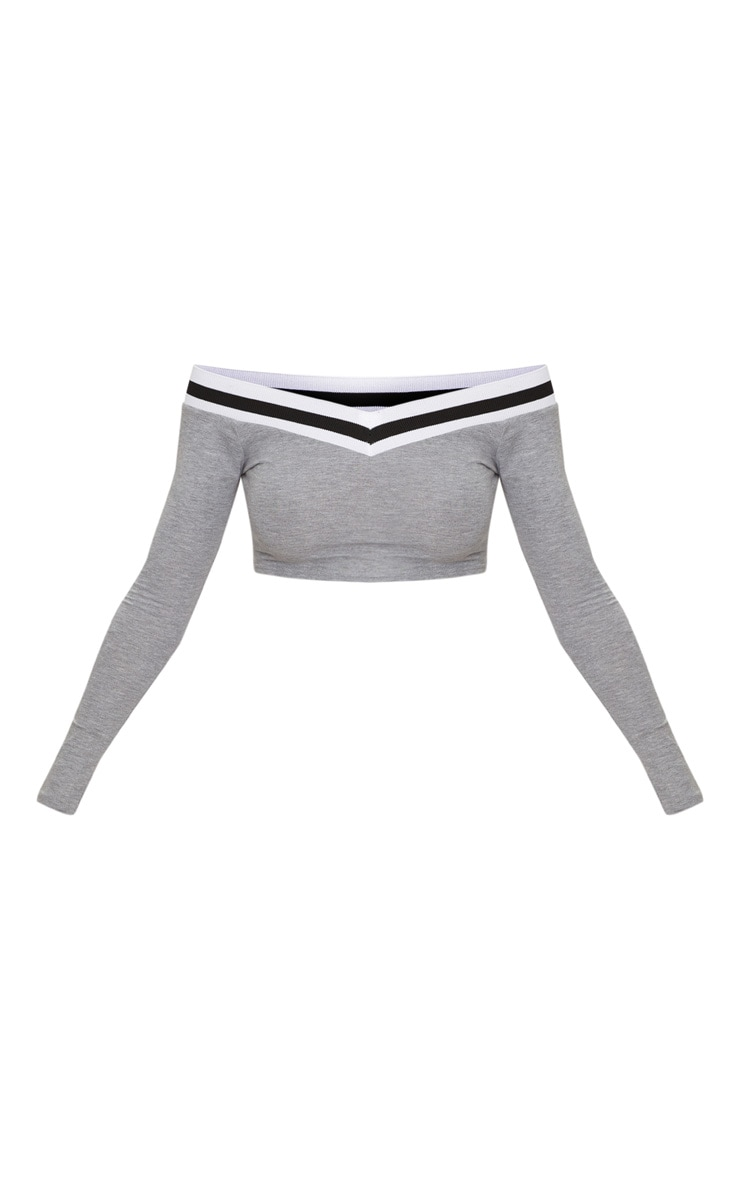 Grey Sport Stripe Long Sleeve Off Shoulder Crop Top 3