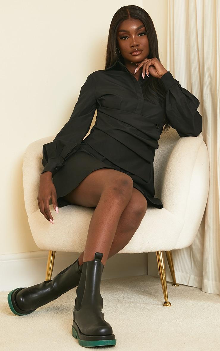 Tall Black Corset Detail Shirt Dress 3