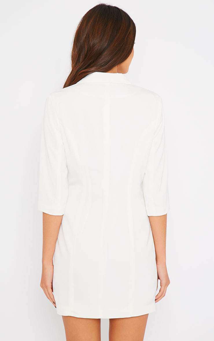 Maryam Cream Longline Asymmetric Zip Front Blazer Dress 3
