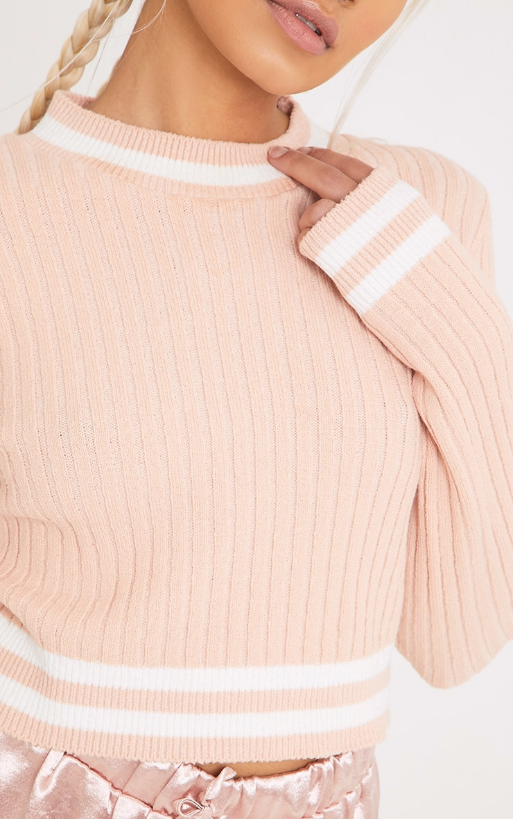 Zofia Nude Tipped Knitted Crop Top 5