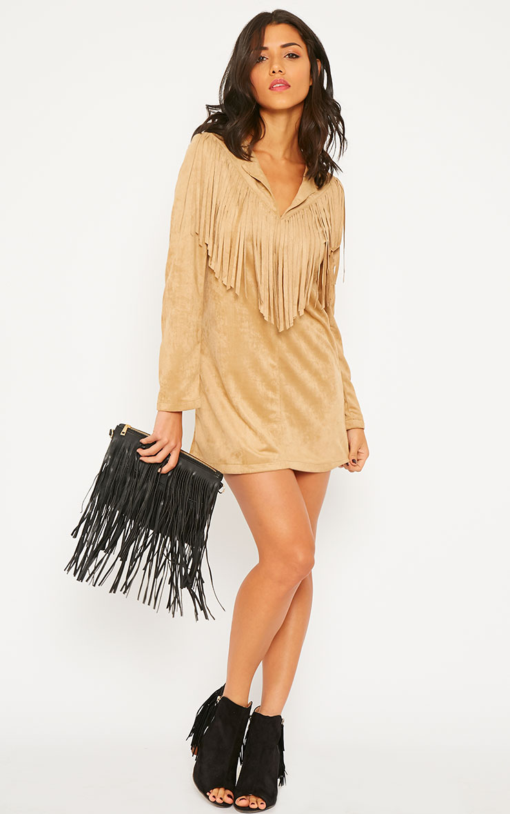 Elvin Camel Suede Fringe Mini Dress 3