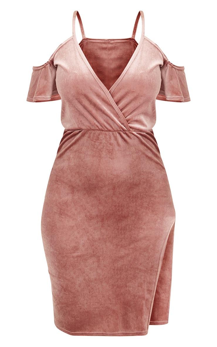 Dusty Pink Velvet Cold Shoulder Wrap Front Midi Dress 3