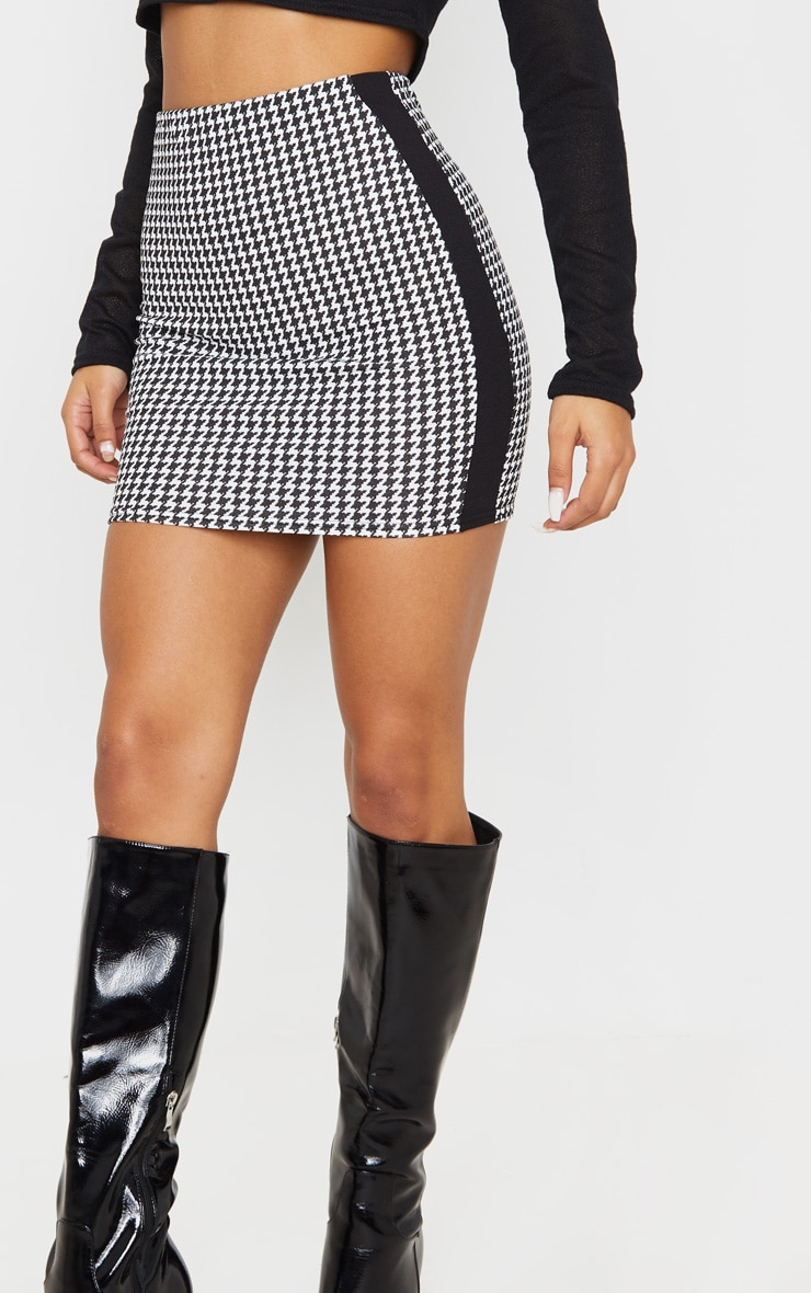 Black Houndstooth Contrast Panel Mini Skirt 6