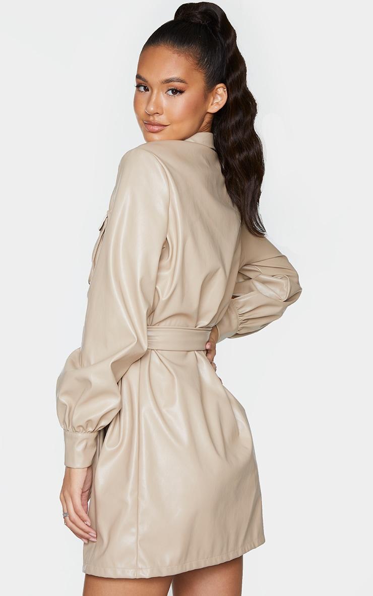 Stone Faux Leather Pocket Detail Shirt Dress 2