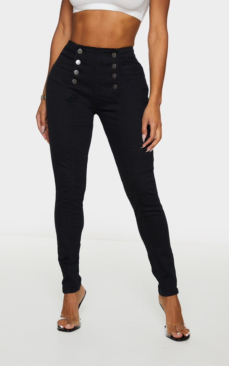 Shape Black Button Front High Waist Skinny Jeans 2