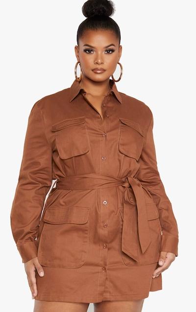 Plus Chocolate Brown Utility Shirt Dress