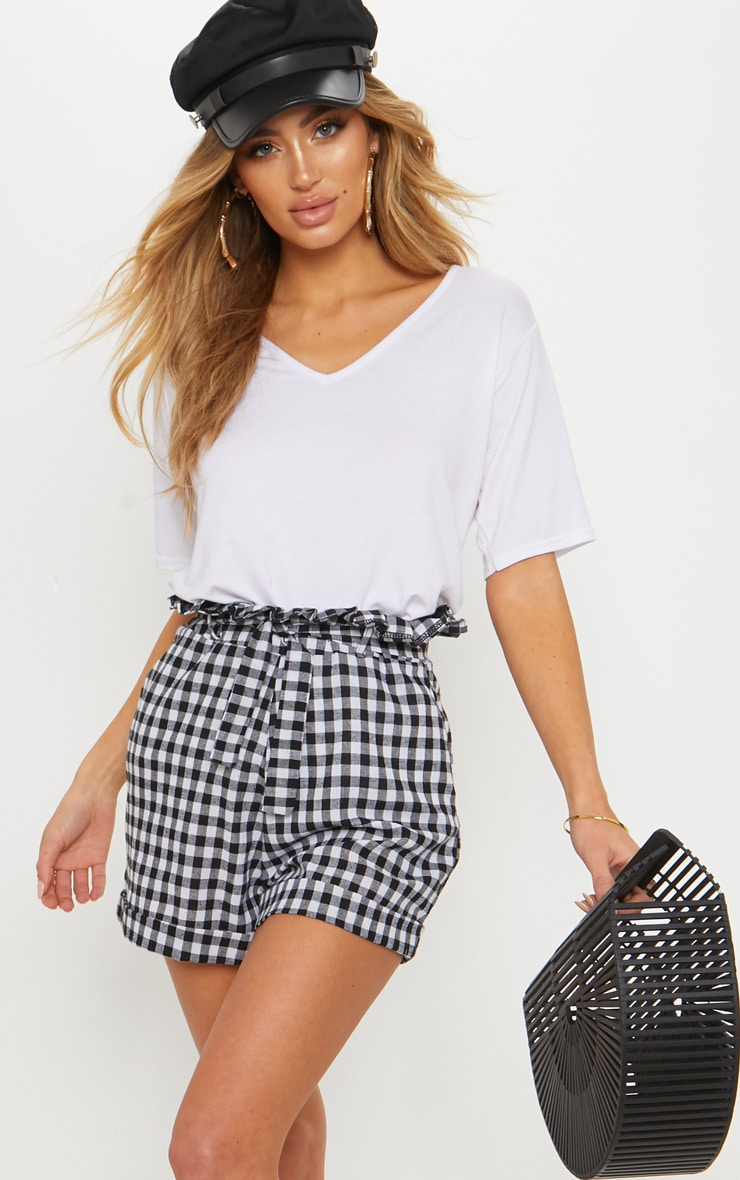 Black Gingham Tie Waist Short