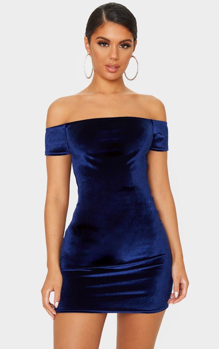 Navy Velvet Bardot Short Sleeve Bodycon Dress 1