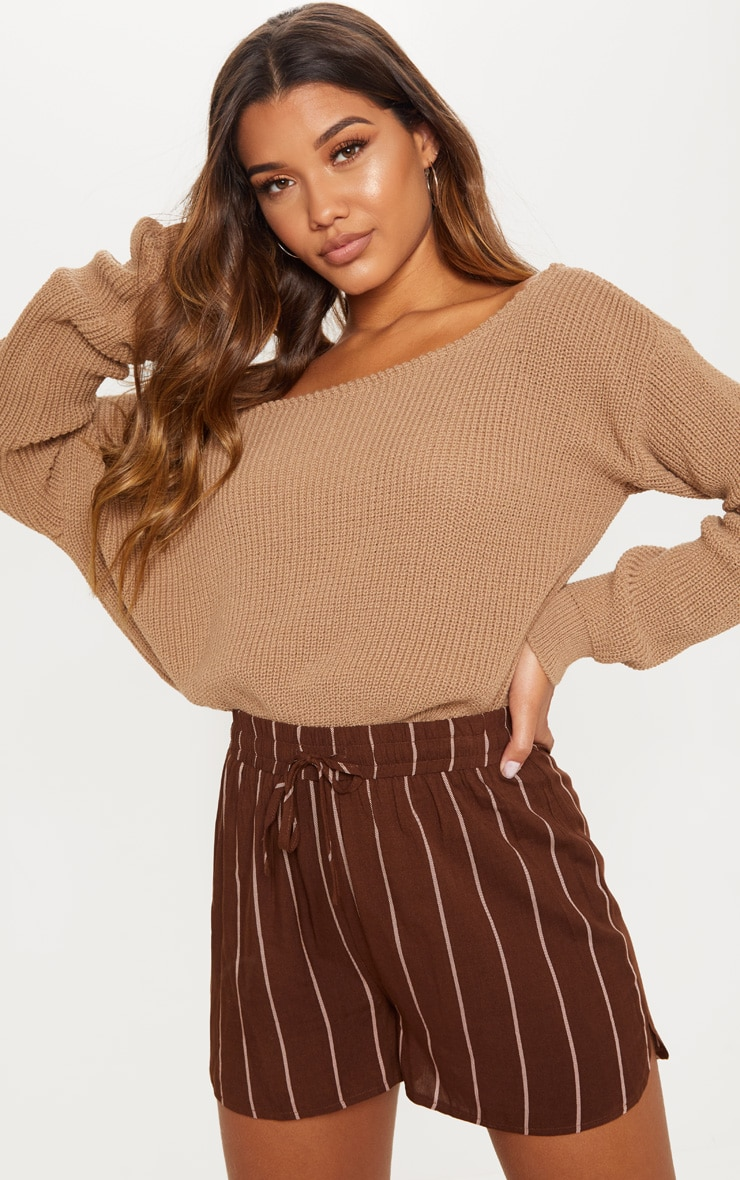 Chocolate Stripe Drawstring Waist Casual Short 1