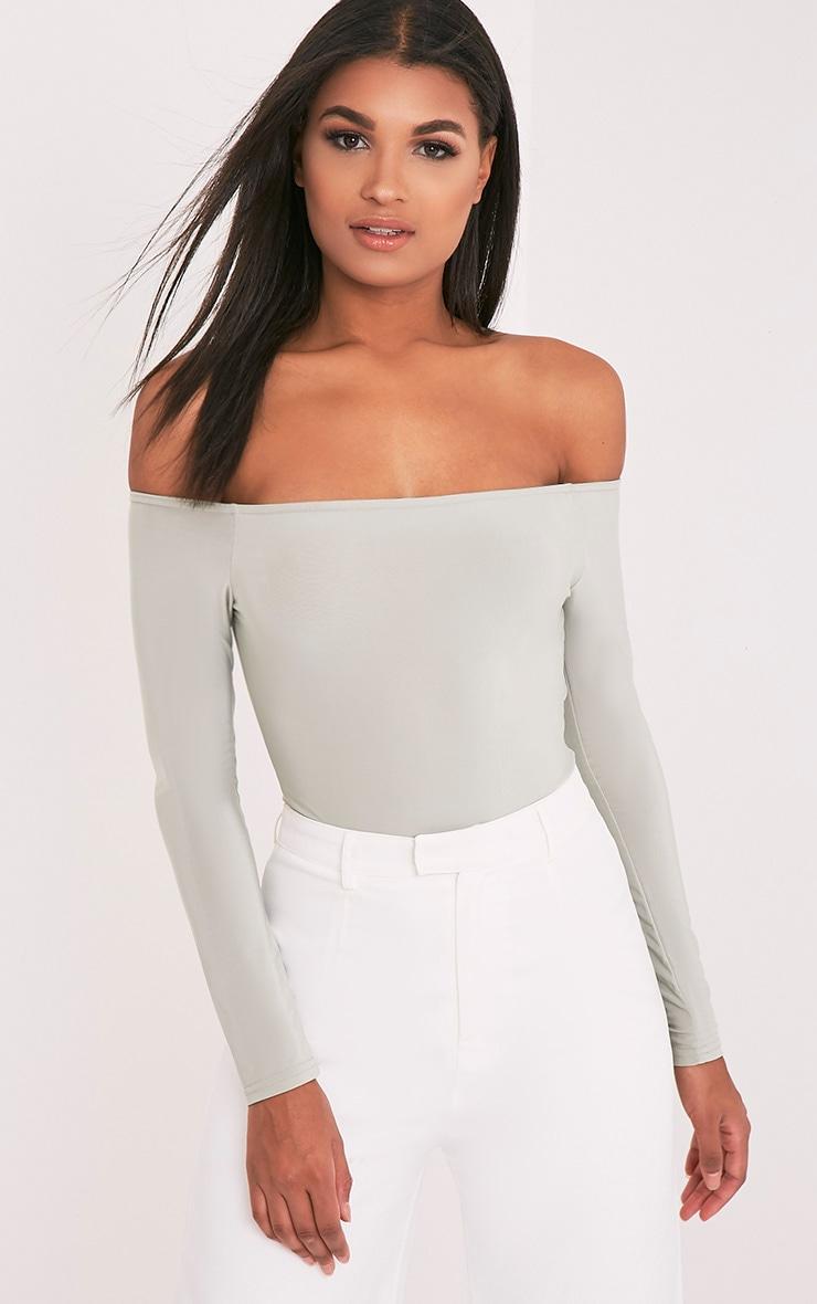 Rossalyn Sage Green Slinky Bardot Bodysuit 1