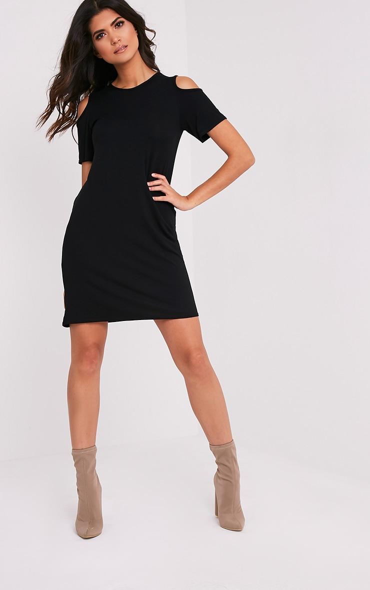Neeka Black Cold Shoulder T-Shirt Dress 5