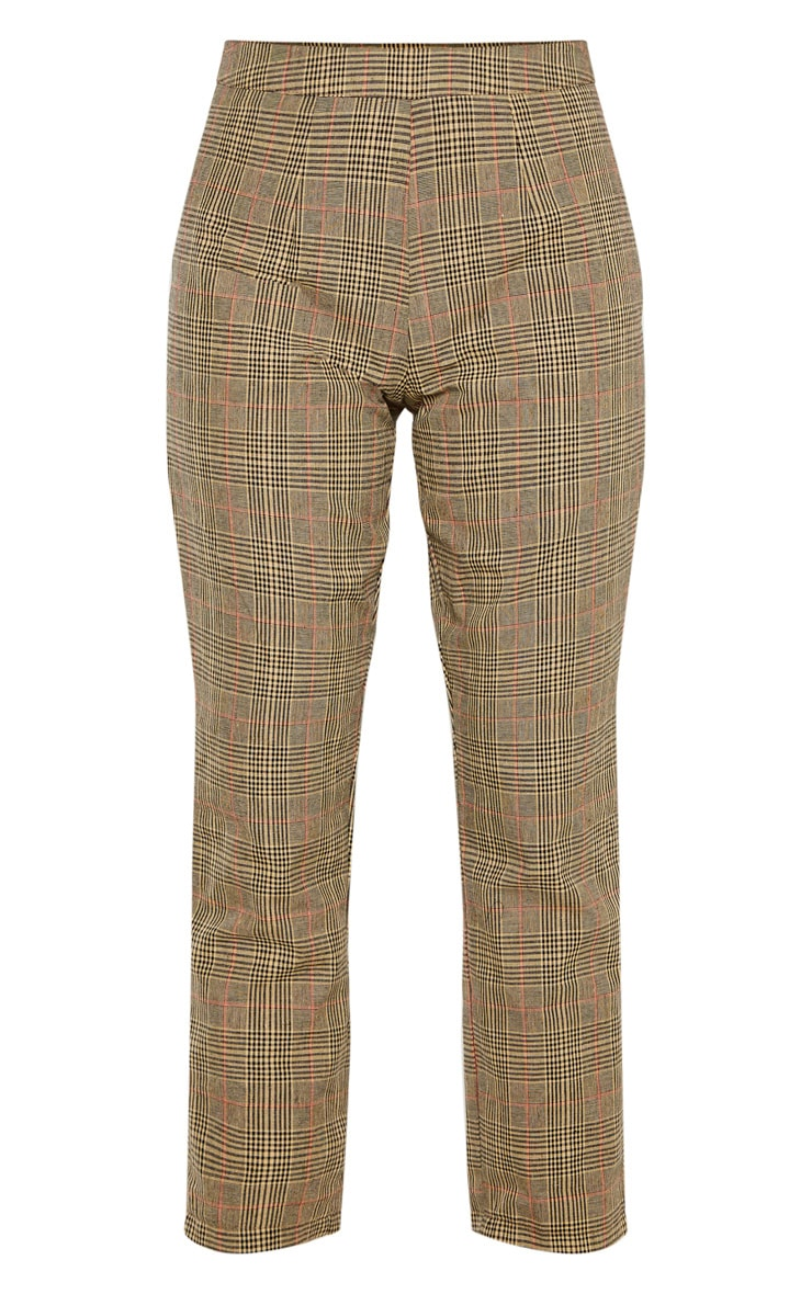 Tall - Pantalon droit marron imprimé carreaux 3