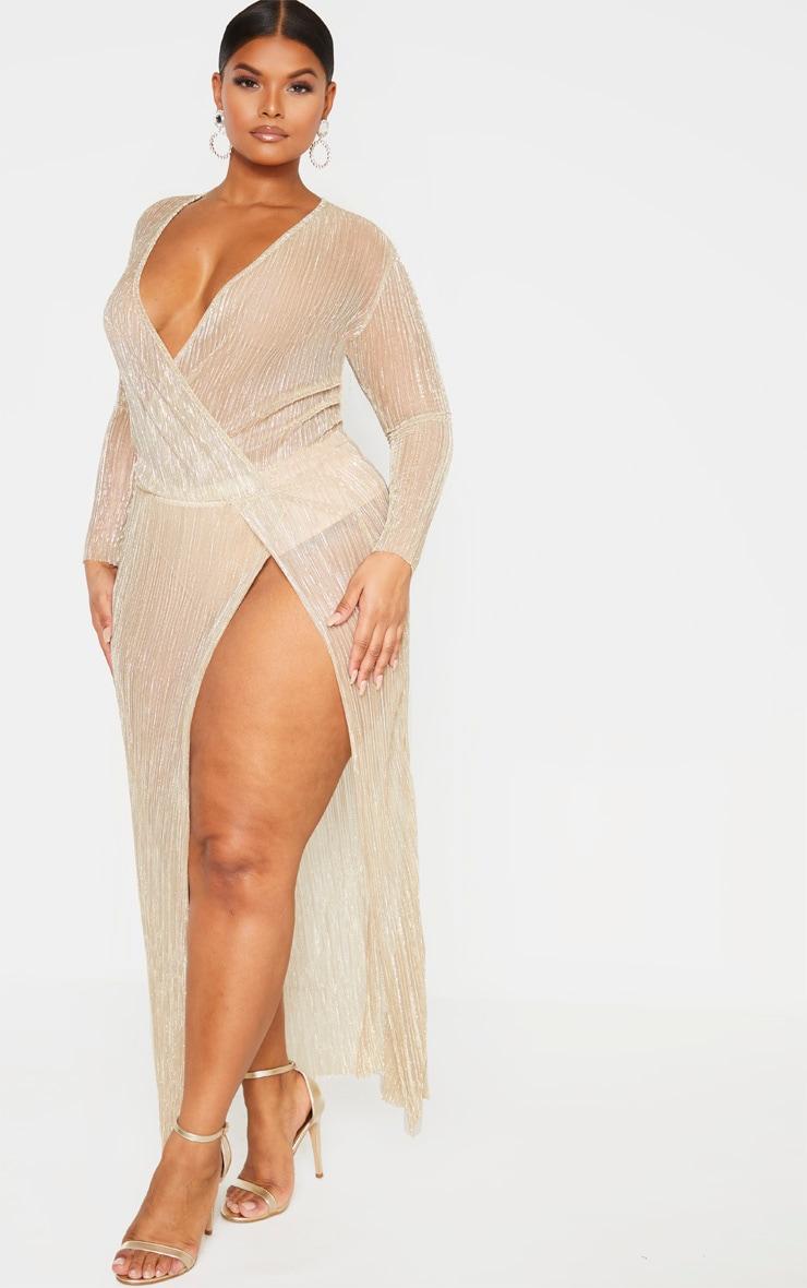 Plus Gold Sheer Plisse Wrap Maxi Dress 4