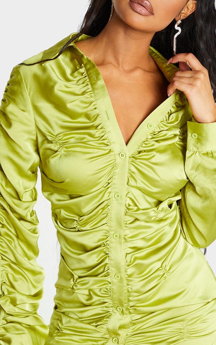 Chartreuse Satin Ruched Long Sleeve Shirt Dress 4