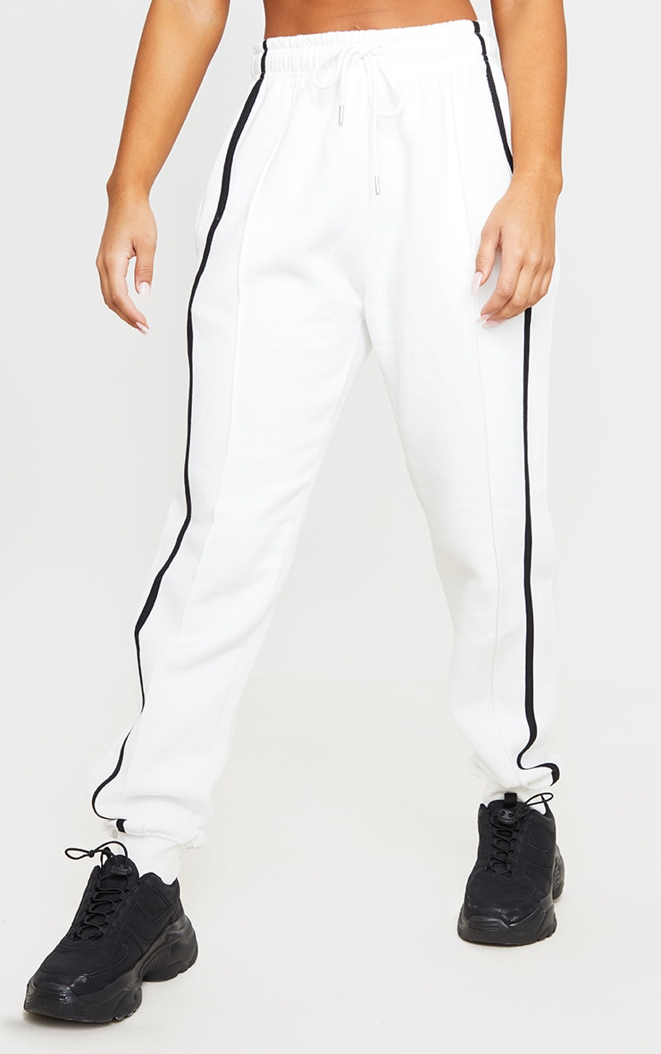 Cream Double Side Stripe Joggers 2