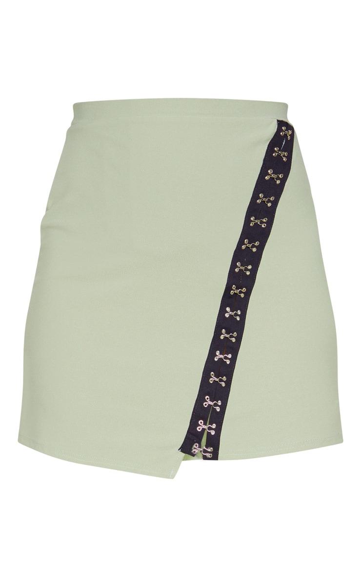 Sage Khaki Hook & Eye Detail Asymmetric Mini Skirt  3