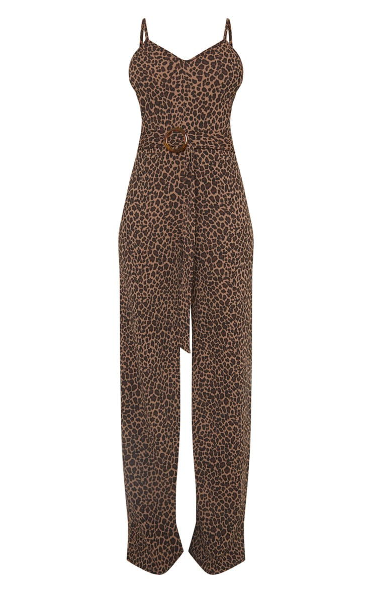 Tall Tan Leopard Print Tortoise Ring Jumpsuit 3