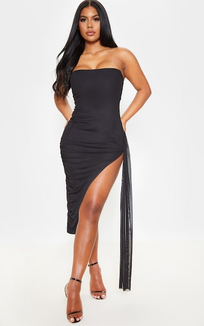 97717d22a60 Black Mesh Bandeau Drape Detail Split Midi Dress